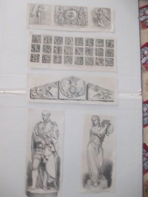 1870 Lots of 5 Statue Ornament Architecture Engraving Antique Print # 8