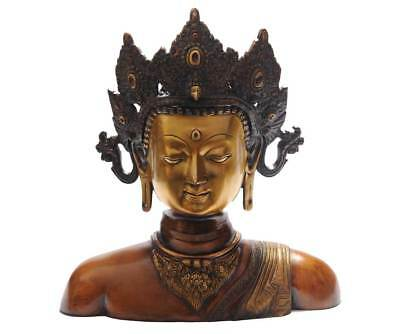 Antique Old Chinese Hand Made Bronze Buddha Tara Bust Statue Thai Room Décor 11""