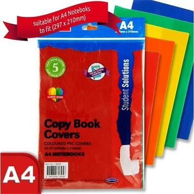 Pack of 5 Book Covering -Heavy Duty Slip on Covers-(Fit A4 Exercise Book) COLOUR