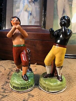Staffordshire Style Figures Tom Cribb & Tom Molyneux Bare Knuckle Boxers
