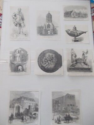 1870 Lots of 9 Ornament Statue Architecture Antique Print # 10