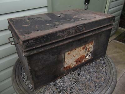 Large Vintage Metal Deed Box Storage Tin Chest #12