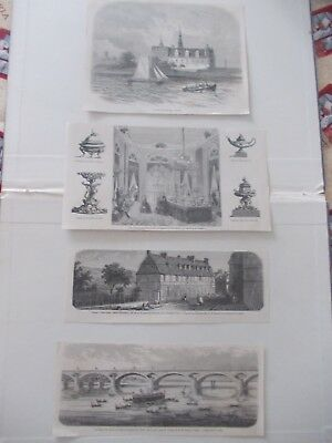 1856 Lots of 4 Ornament Landscape Architecture Antique Print # 14