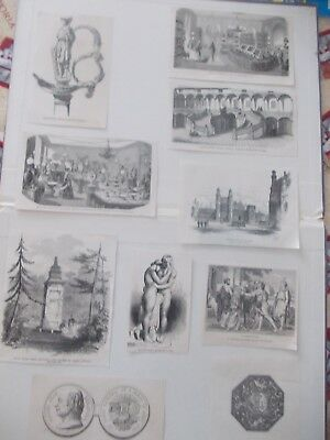 1856-1870 Lots of 10 Ornament Architecture Antique Print # 9