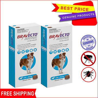 BRAVECTO for Dogs 2 Chews Blue 20 to 40 Kg Flea and Tick Control by Merck
