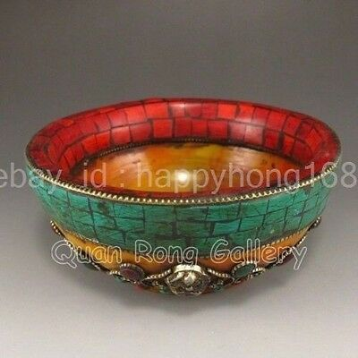 Hand-carved Chinese Turquoise Bowl NR c02