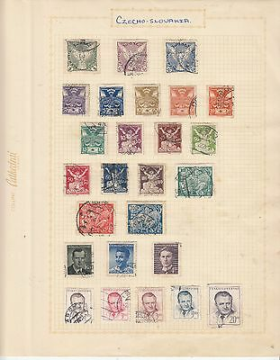 CZECHOSLOVAKIA EARLY COLLECTION on old album Page USED