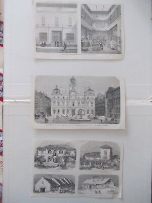 1856 Lots of 3 Architecture Laqndscape Antique Print # 16
