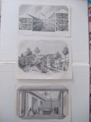 1856 Lots of 3 Architecture Laqndscape Antique Print # 17