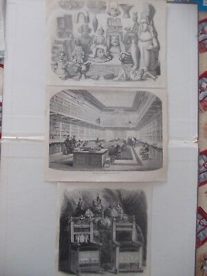 1856 Lots of 3 Architecture Statue Ornament Antique Print # 18