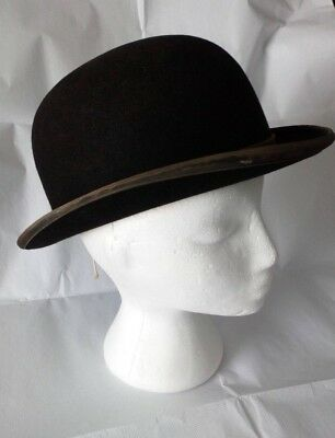 MOSS BROS Covent Garden Vintage Black Bowler/Derby Hat - Size 7/57 (Small Adult)