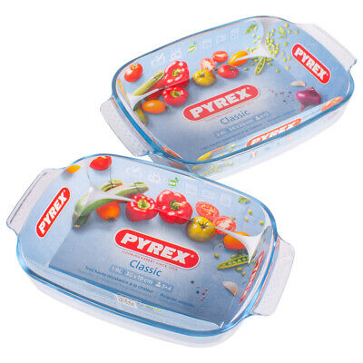 Easy Grip Pyrex Classic Oven Dishes 1.9 Litre Or 2.6 Litre Glass Bakeware