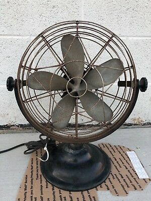 "Vintage 1938 Roto Beam Model 112 12"" Cast Aluminum Blade Fan art deco"