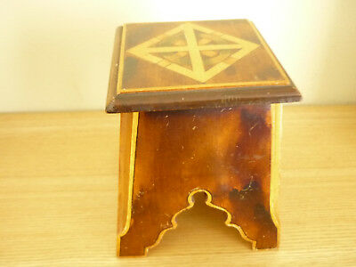 Antique Treen Match Holder/ornament, Sycamore, Coloured Inlay Detail.
