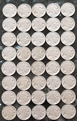 Buffalo Nickel Roll Of 40 Average Circulated Full Dates No Reserve
