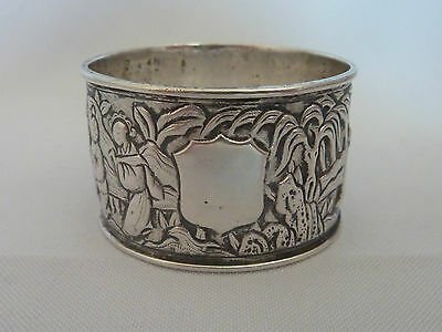 Antique / Vintage Chinese solid silver figural napkin ring