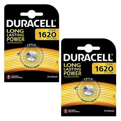 Genuine 2X Duracell Cr1620 3V Lithium Coin Cell Battery Dl1620 1620 Br1620 Ecr16