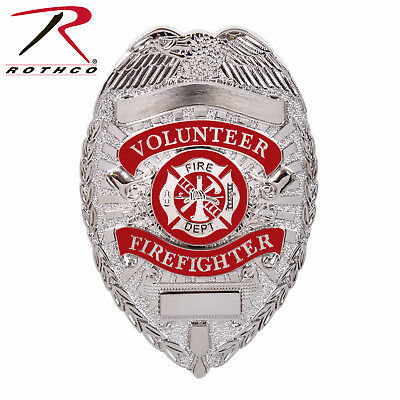 Rothco Costume Deluxe Fire Department Badge For Volunteer Firefighters in Silver