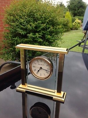 Mantle clock glass and gold metal elegant working vintage London Clock Co