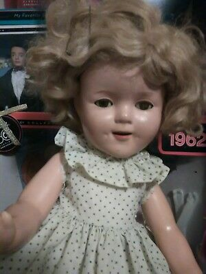 Vintage 1930s Composition Shirley Temple Doll + Vintage Outfit By IDEAL 15 inch