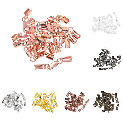 100 Fold Over Cord Crimp Bead End Tip Findings W// Loop For Thick Jewelry Cording