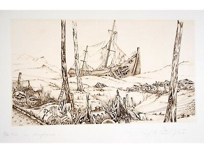 Georges PIERRON Engraving Signed/Numbered Le Naufrage 1979