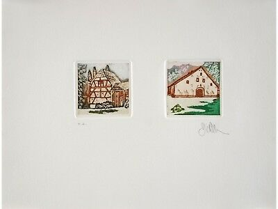 Didier GRENIER Engraving Signed Limited Chaumières 1987