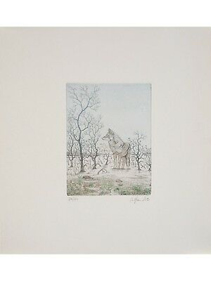 Bernd HAUCK s/n Etching Loup - Wolf 1990