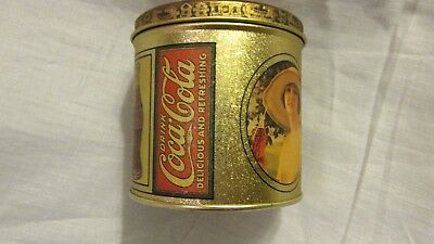 """Vintage Coca-Cola 1984 Lady Gibson Tin Box, 3 1/2"""" round, with lid"""