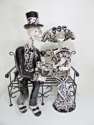 "21"" Large COUPLE CATRINA in bench talavera mexican day of the dead handmade"