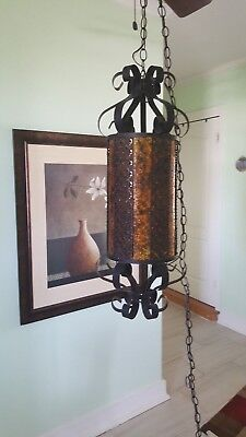 Vintage Spanish Style ceiling Lamp Gothic Wrought Iron Amber Stained plastic wra