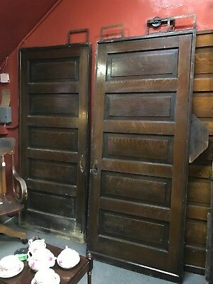 Antique Pocket Door Pair Circa 1890's Barn Door 3' x 7' Victorian Parlor Doors