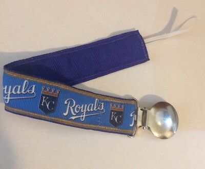 Baby Boy Girl Pacifier Clip Holder Leash Ribbon Kansas City Royals Baseball Blue
