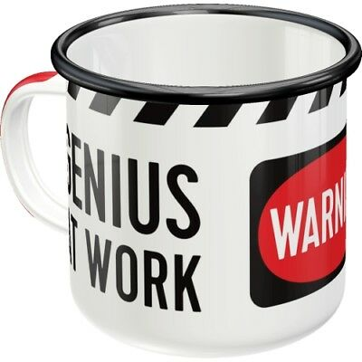 Genius at Work Blechtasse Emaille Becher Tasse 8 x 8 cm 360 ml