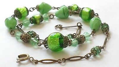 Czech Antique Art Deco Green Foil Wired Glass Bead Necklace Signed