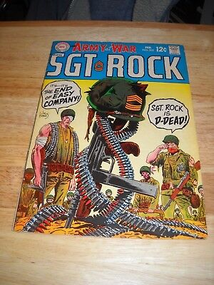 Our Army At War # 202 1969 Dc War Comic  Sgt. Rock Is Dead Fine- Condition