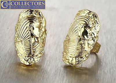 Unique Intricate Large Egyptian Pharaoh King 18K 750 Yellow Gold Statement Ring