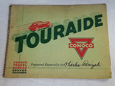 1937 Conoco Travel Bureau Touraide Maps Pictures Info Plus Letter From Director