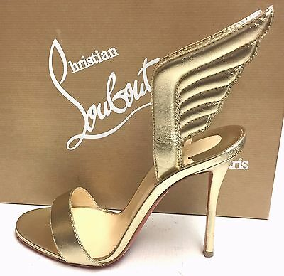 bd2f8ae15b27 Christian Louboutin Samotresse 100 Gold Nappa Wings Sandals Pump Heel Shoes  38