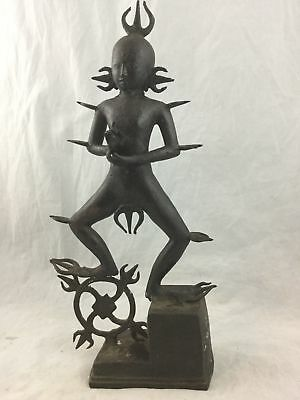 Antique Rare Hindu Tribal Bronze Rudra Lord Shiva Dancing God Fire 14 in