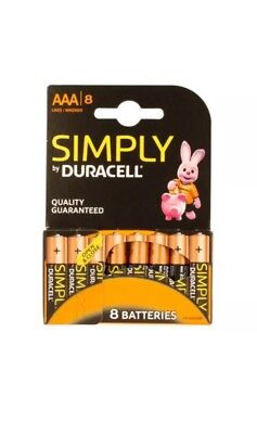 8 x SIMPLY DURACELL AAA MN2400 LR03 Batteries 1.5V ALKALINE Pack of 8 EXP 20/22