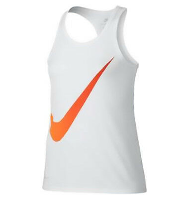Nike Girls New Exploded Swoosh Tank Tops in White and Black