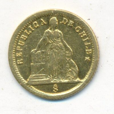 1861 Gold Chile One Peso-Beautiful Small Gold Coin! Ships Free!