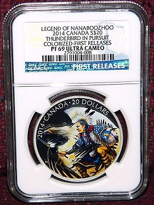 2014 Canada $20 Nanaboozhoo Thunderbird In Pursuit Silver Coin  Ngc Pf 69 Uc Fr