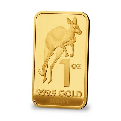 1 oz gold bullion bar Melbourne Mint kangaroo 99.99 purity