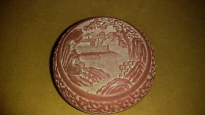 Old Chinese Carved Forest Red Cinnabar Blue Enamel Round Trinket.