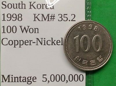 World Foreign Nice Key Date South Korea 1998 Coin 100 Won KM# 35.2 !!