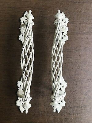 Large White Antique Pair Ornate Spiral Helical Double Door Handles Pulls W.T.& S