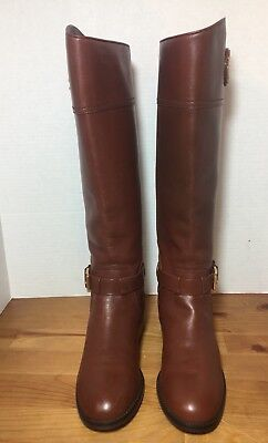 84ead830f01c TORY BURCH  ADELINE  Almond Brown Leather Boots Women s Size 6 M ...