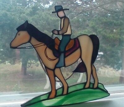 Cowboy on a horse vintage stained-glass window hanging see photos for details